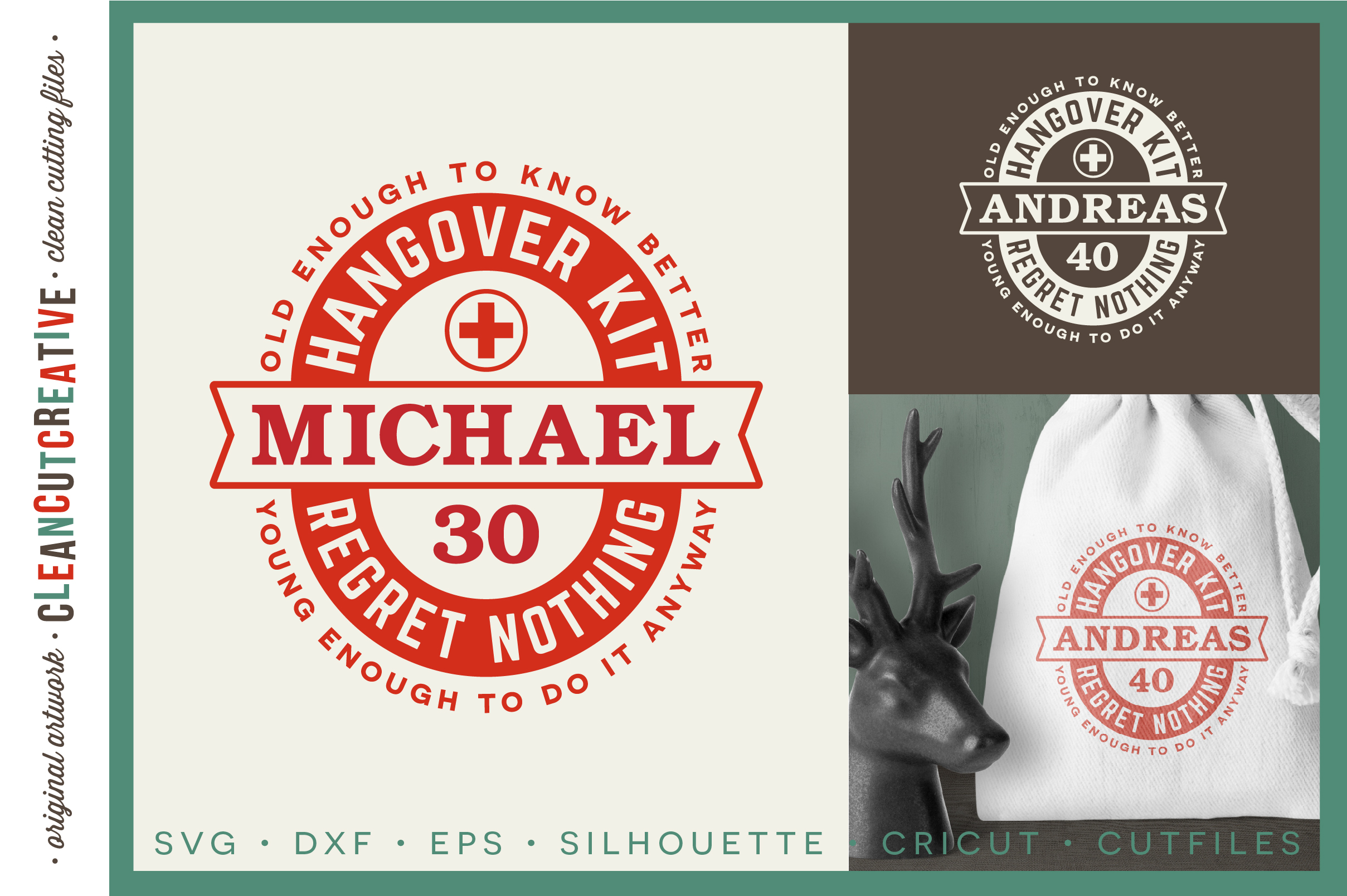 Birthday Hangover Kit | Personalized 30 40 50 Birthday SVG example image 1