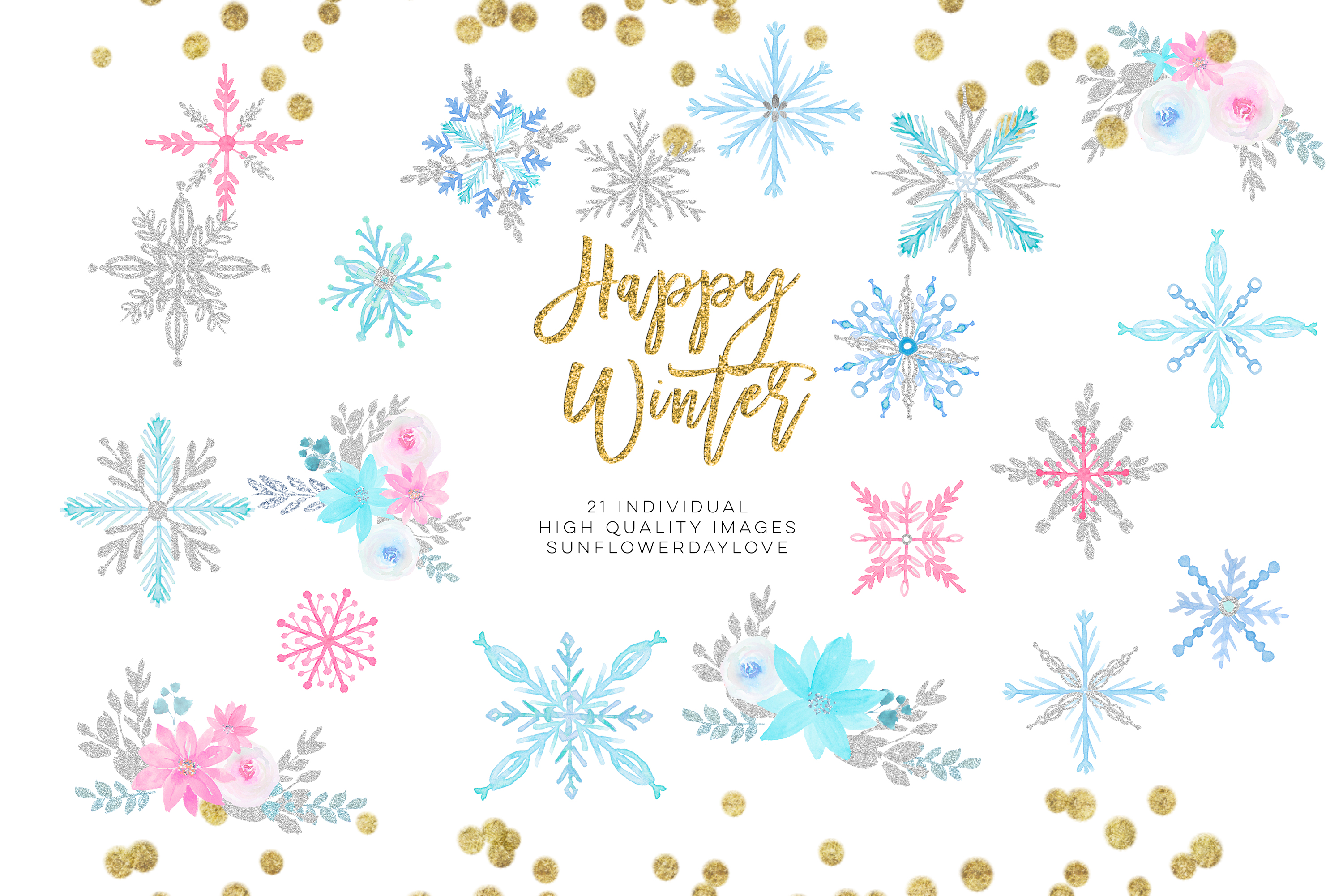 Winter onederland clipart, winter snowflakes clipart example image 2