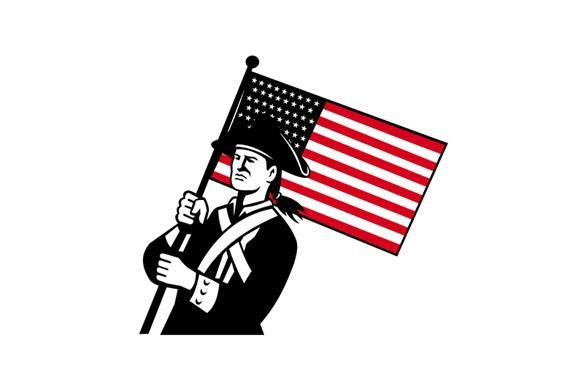American Patriot Holding Flag Retro example image 1