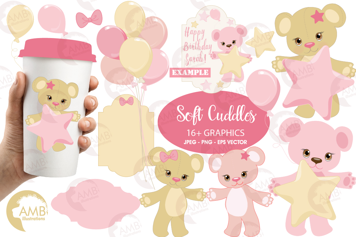 Teddy bear, nursery, baby girl, baby pink bear, clipart, graphics, llustrations AMB-1450 example image 1