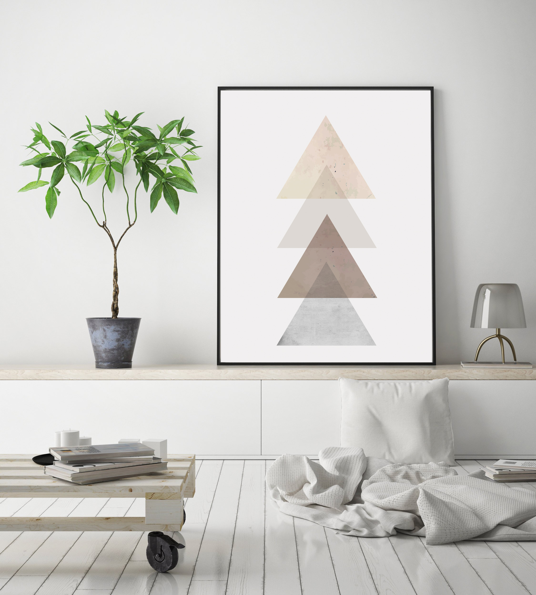 Triangle Wall Art, Rose Gold Geometric Decor, Scandinavian example image 2