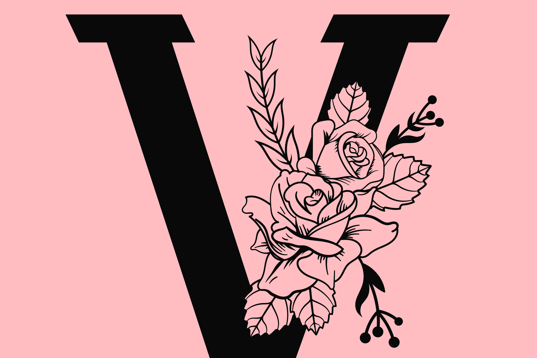 Floral Alphabet SVG example image 2
