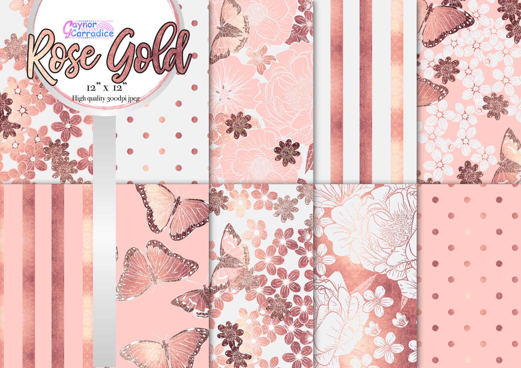 Rose Gold Butterfly Pattern Collection example image 1
