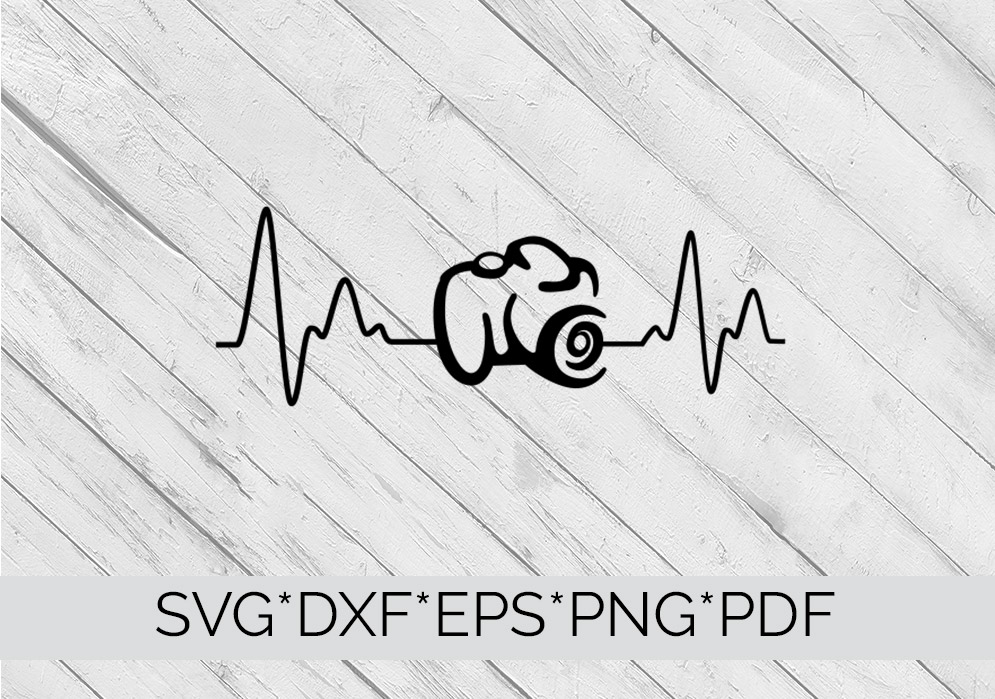 Camera Heartbeat SVG Cutting File  example image 2