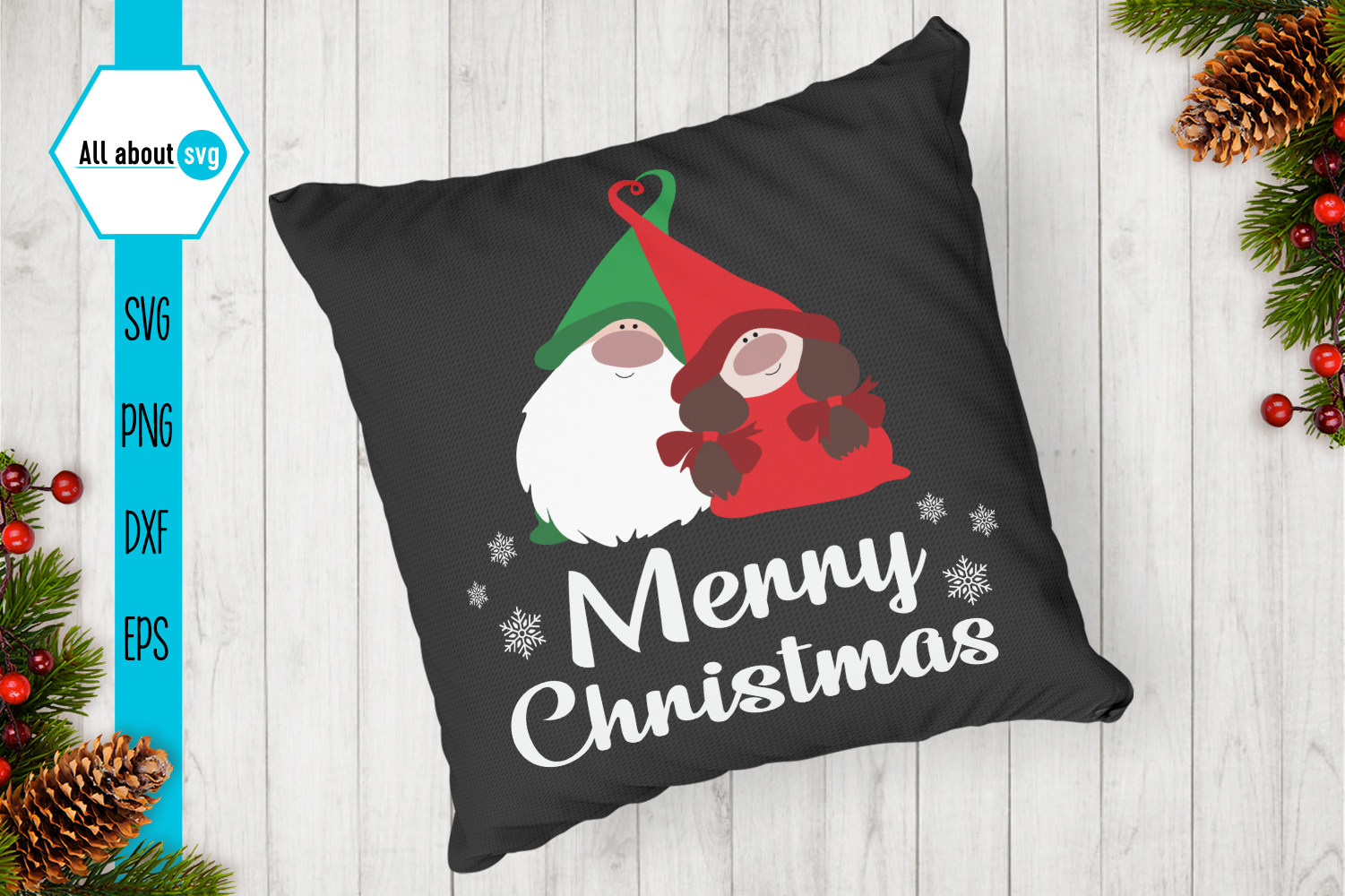 Merry Christmas, Gnome In Love Svg example image 4