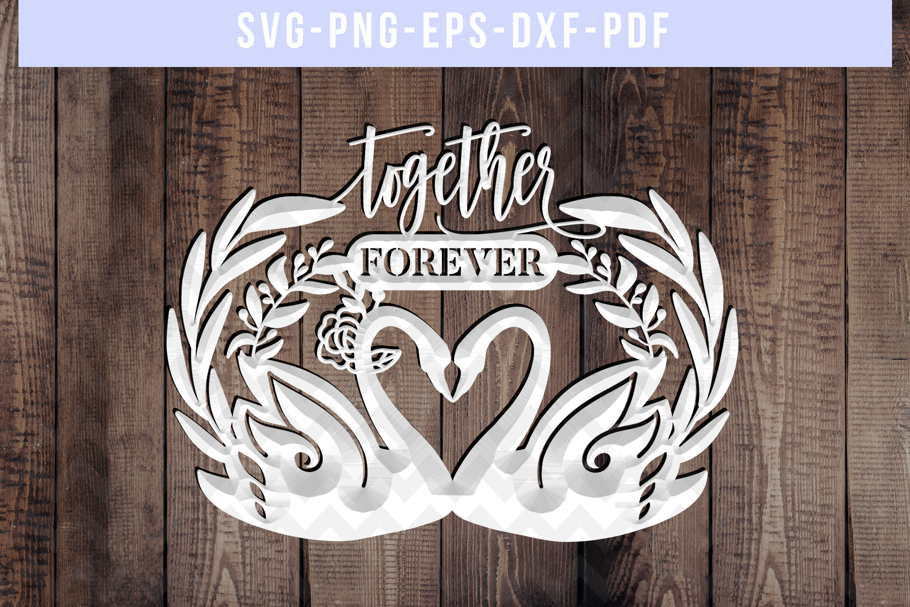 Together Forever Papercut Template, Swan Couple SVG, DXF PDF example image 3