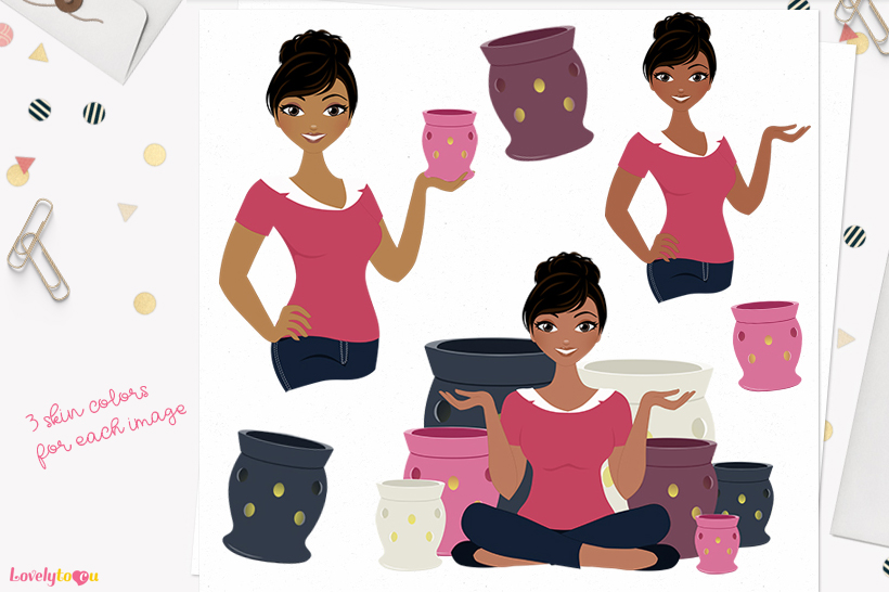 Woman candles character clip art L126 Jewel example image 1