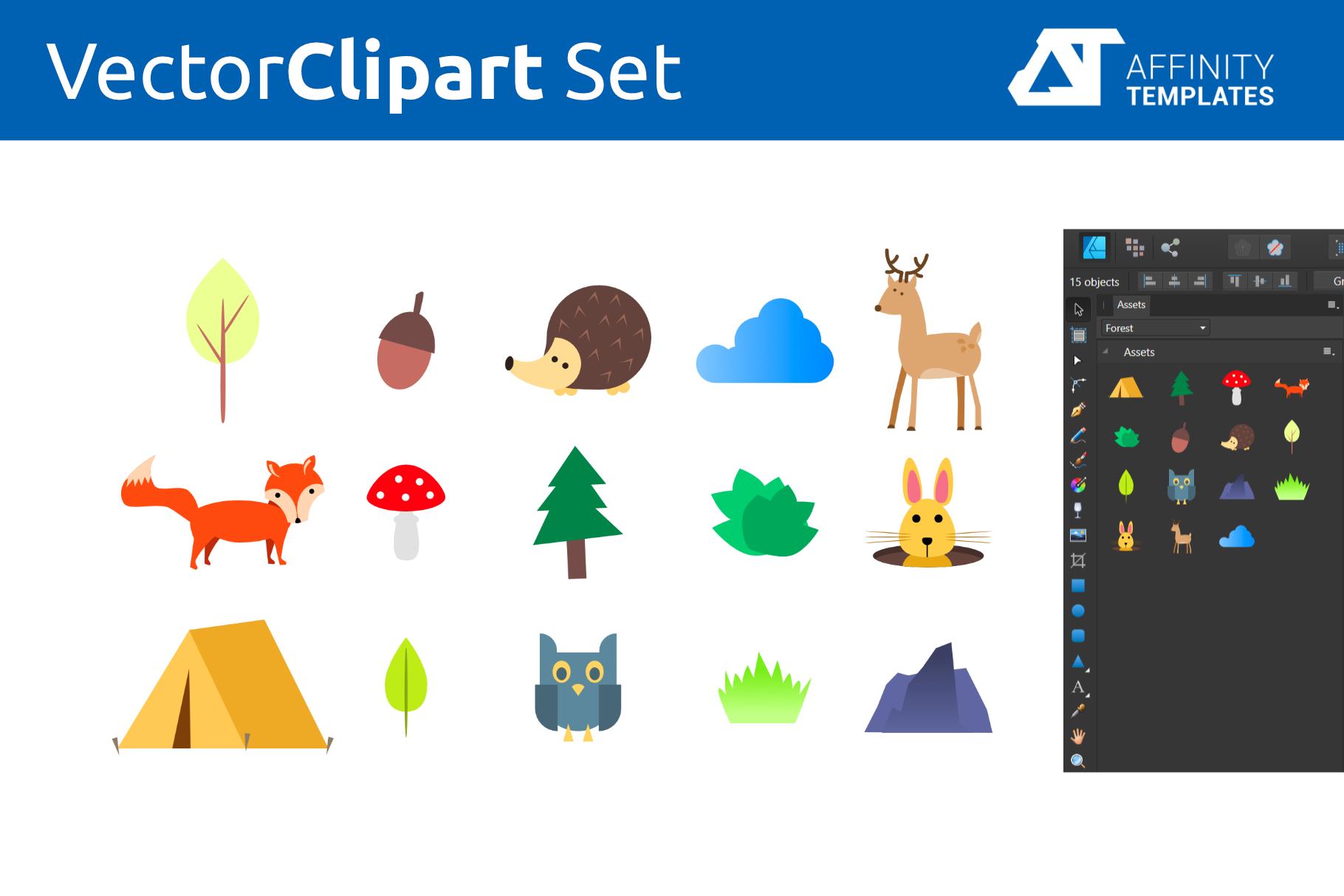 Forest Clip Arts for kindergarten Vector SVG example image 2