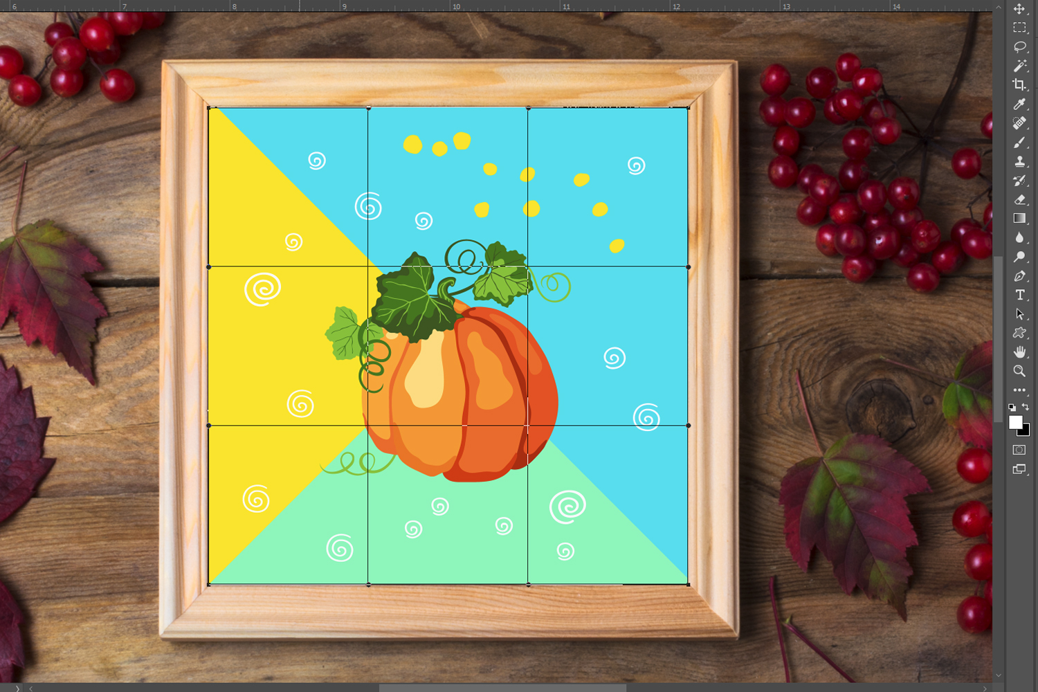 Rustic square frame mockup with viburnum berries example image 2