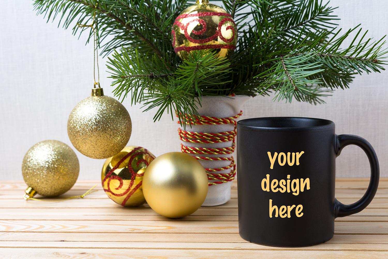 Coffee Christmas Tree Ornaments.Black Coffee Mug Mockup With Golden Red Christmas Ornaments