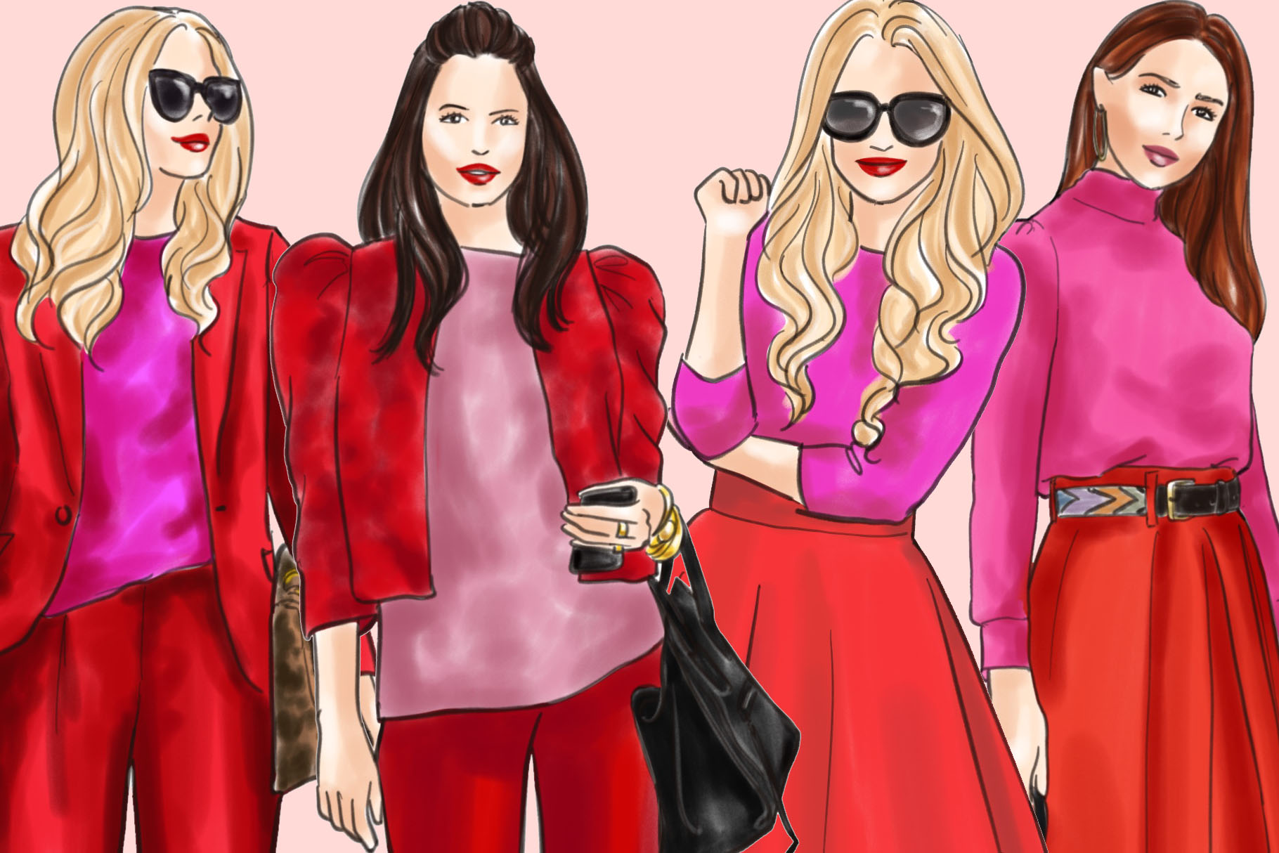 Fashion illustration clipart - Girls in Red and Pink - Light example image 3