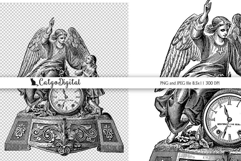 Angel Clock Black and White illustration Vintage PNG example image 1