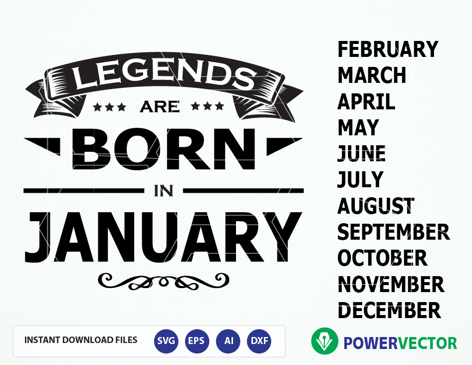 Legends are born in months T-shirt design Svg Cut Files example image 2