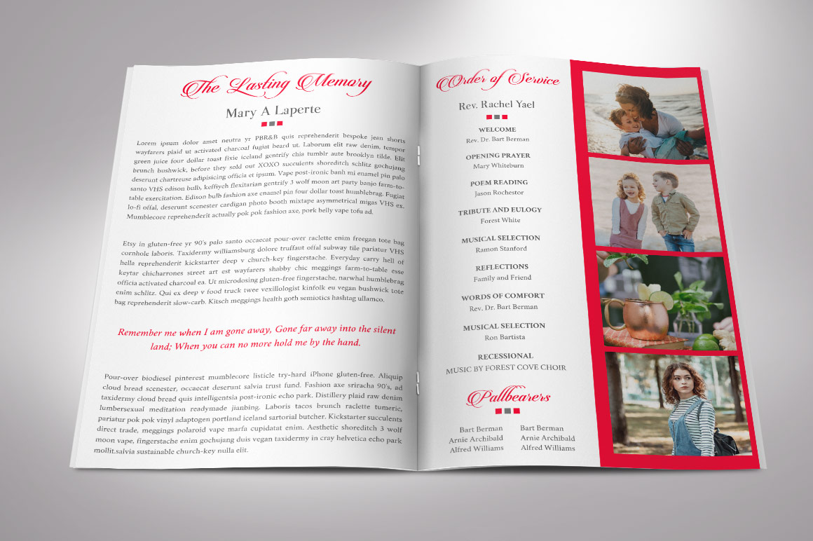 Remember Red Funeral Program Word Publisher Template 4 Pages example image 2