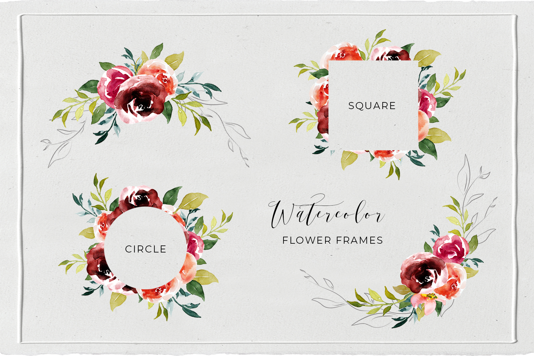 Watercolor Floral Wreath, Frames and Bouquets example image 5