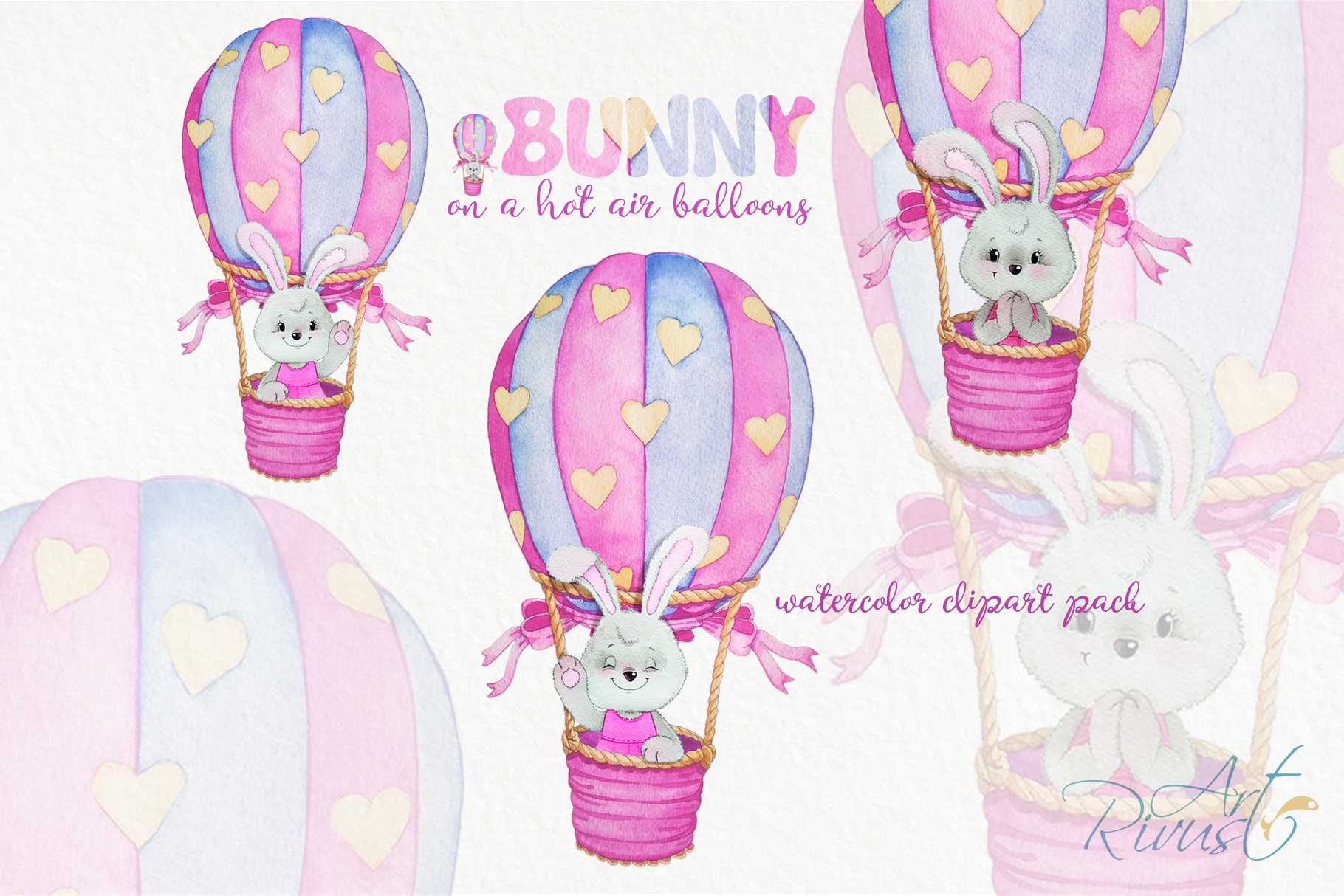 Clipart set watercolor bears with seagull hot air balloons example image 4