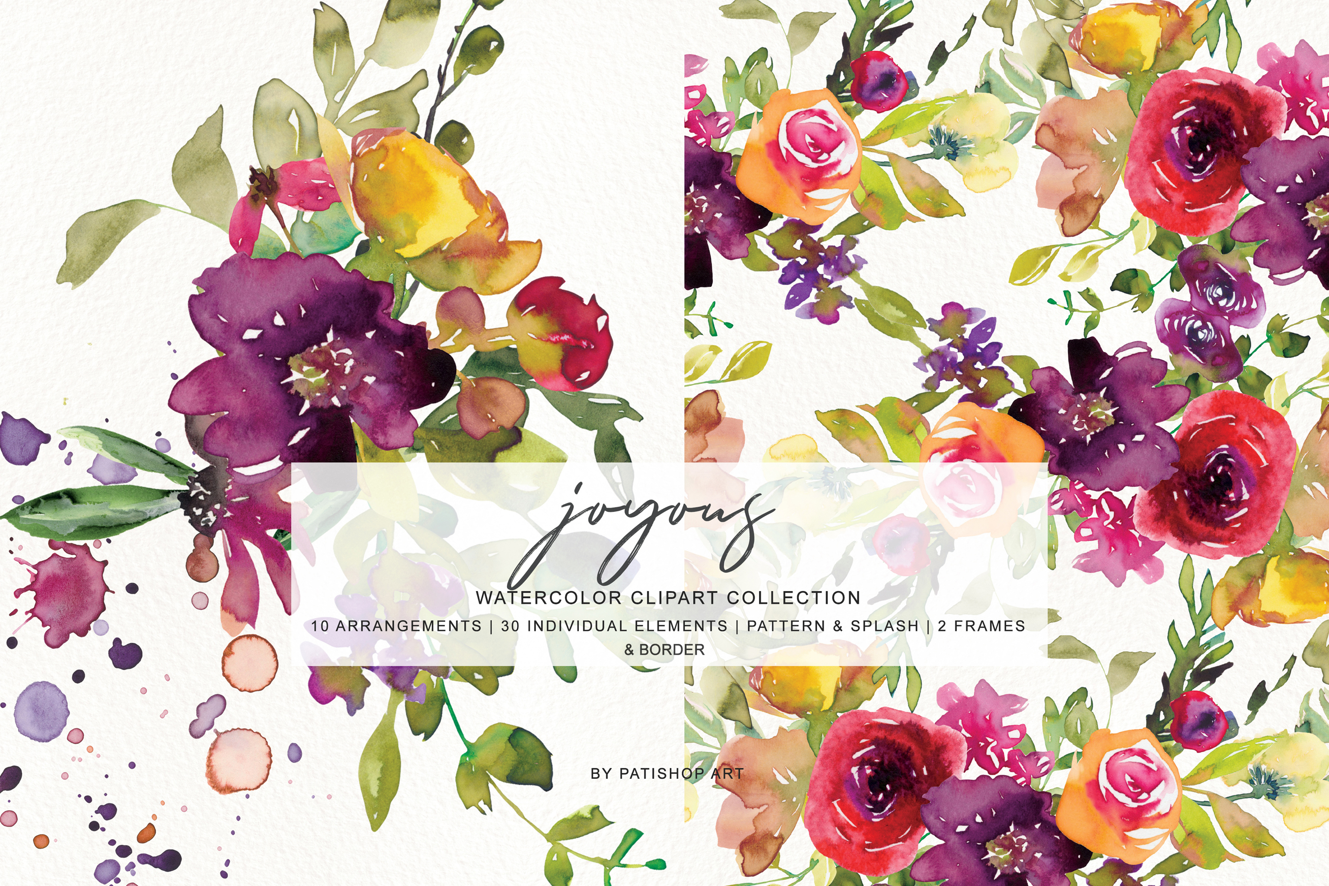 Watercolor Burgundy and Yellow Floral Bouquet Clipart example image 6
