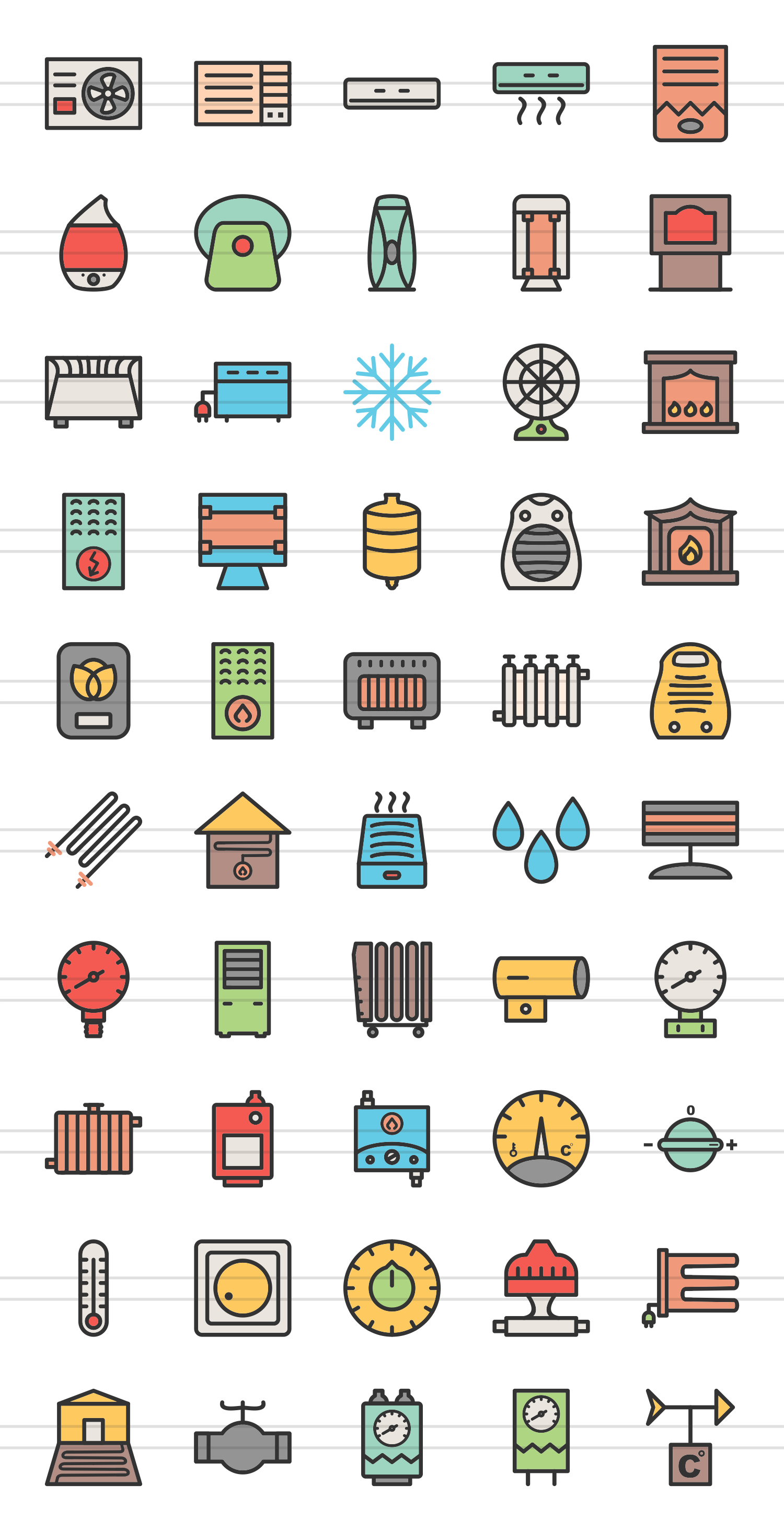 50 Climatic Equipment Linear Multicolor Icons example image 2