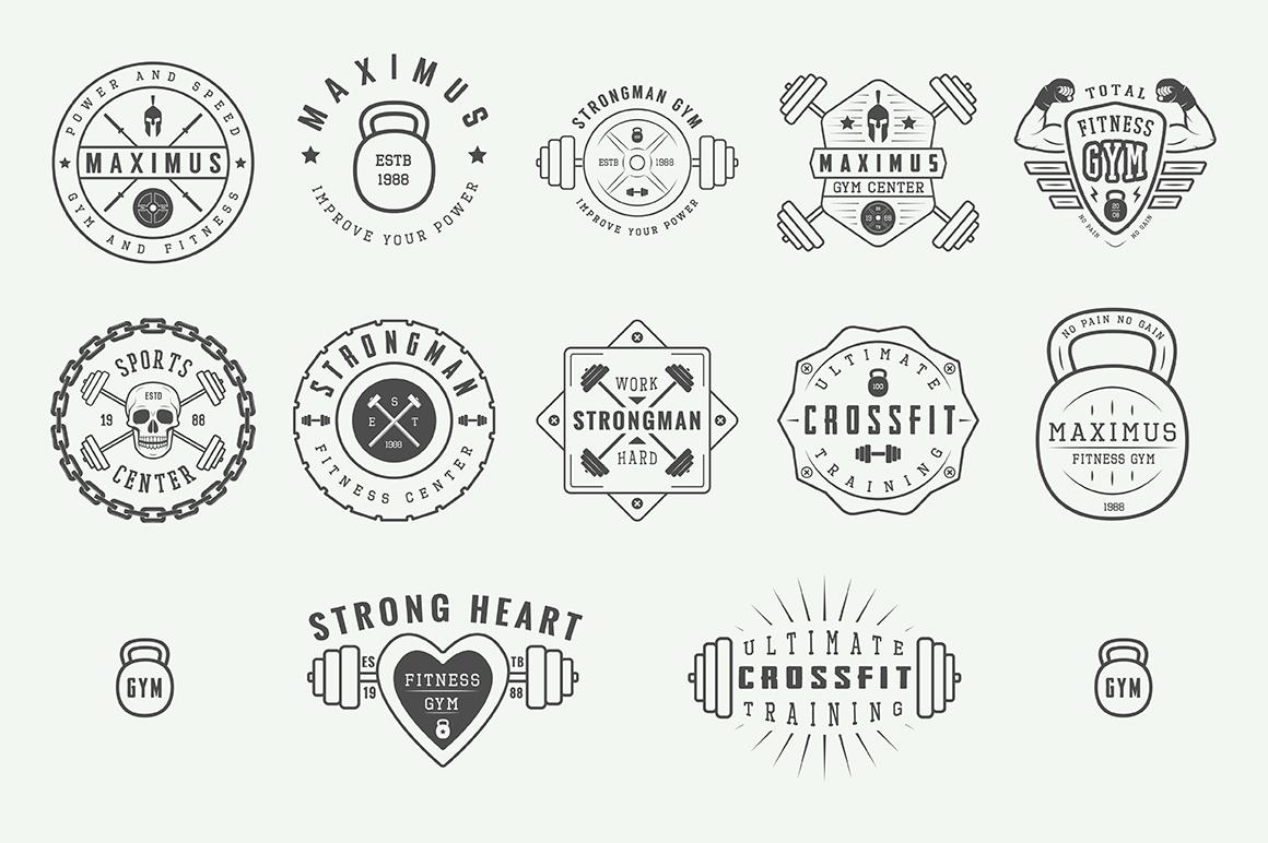 Vintage Gym Emblems Bundle example image 5