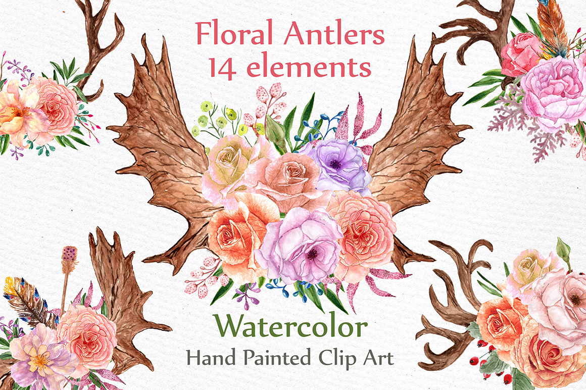 Watercolor floral antlers clipart example image 1