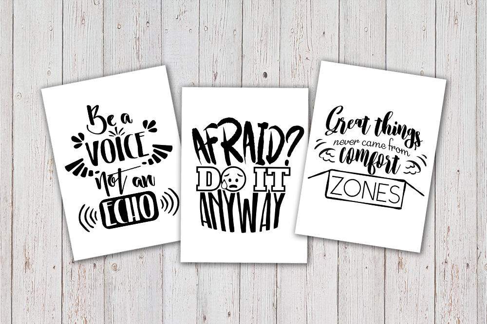 8 Hand Lettered motivation quotes bundle svg example image 2