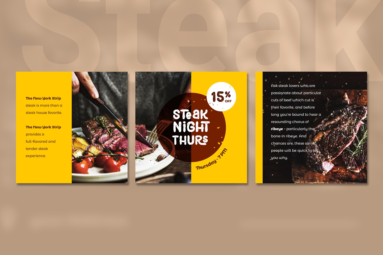 Steak Social Media Post - brown color theme example image 4