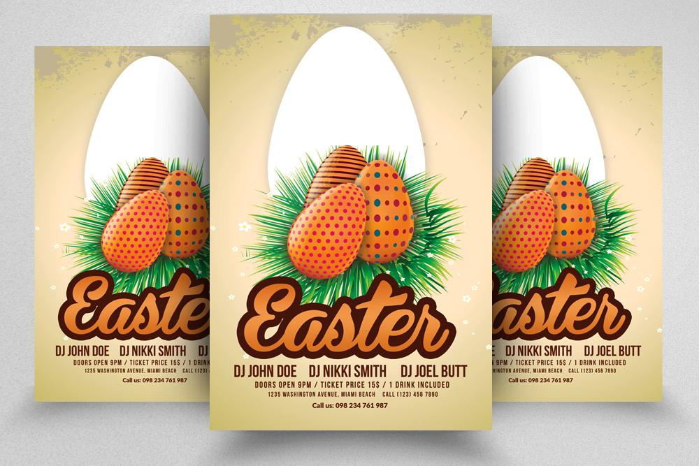 10 Easter Egg Psd Flyer Print Template Bundle example image 6