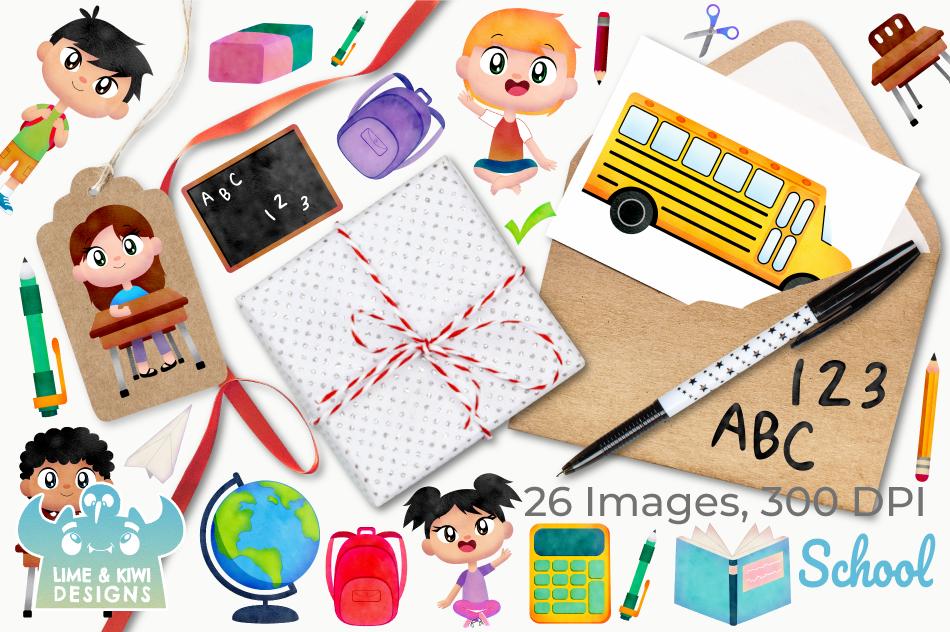 School Watercolor Clipart, Instant Download Vector Art example image 4