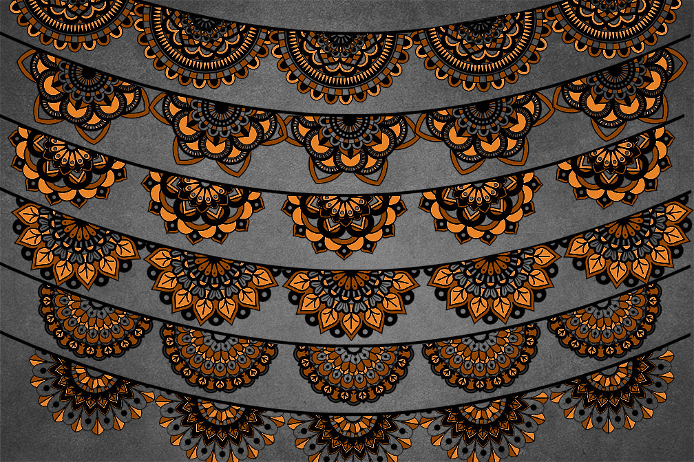 Orange and Black Lace Banners Clipart example image 2