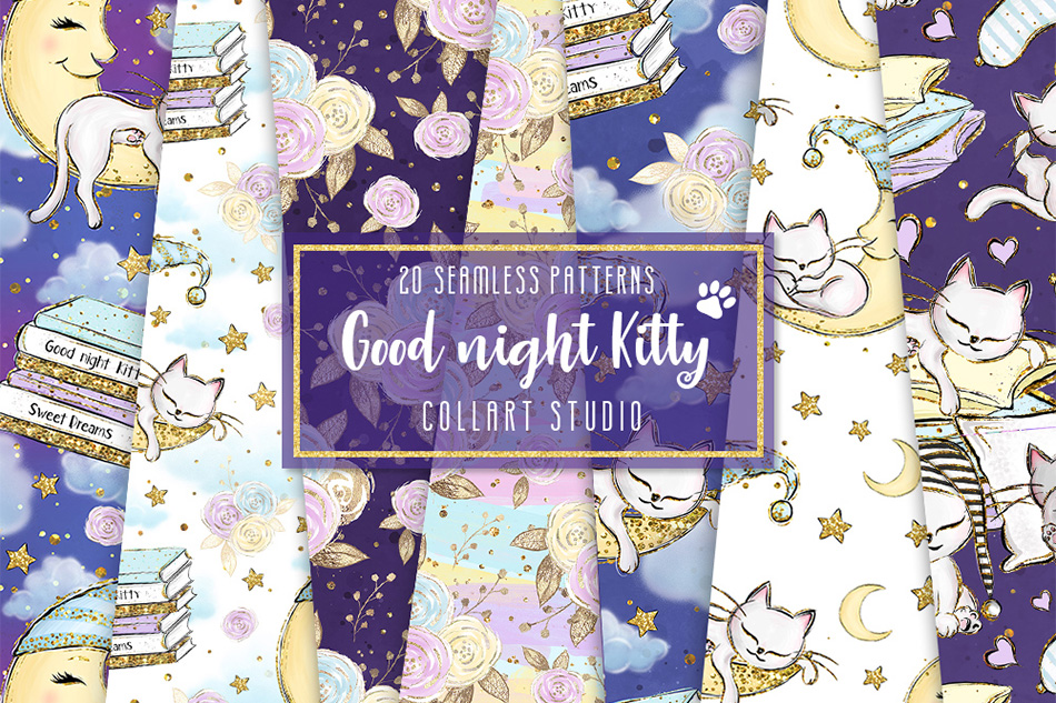 Kitten Digital Paper, Cats Patterns, Sleepy cats, 20 PAPERS example image 1