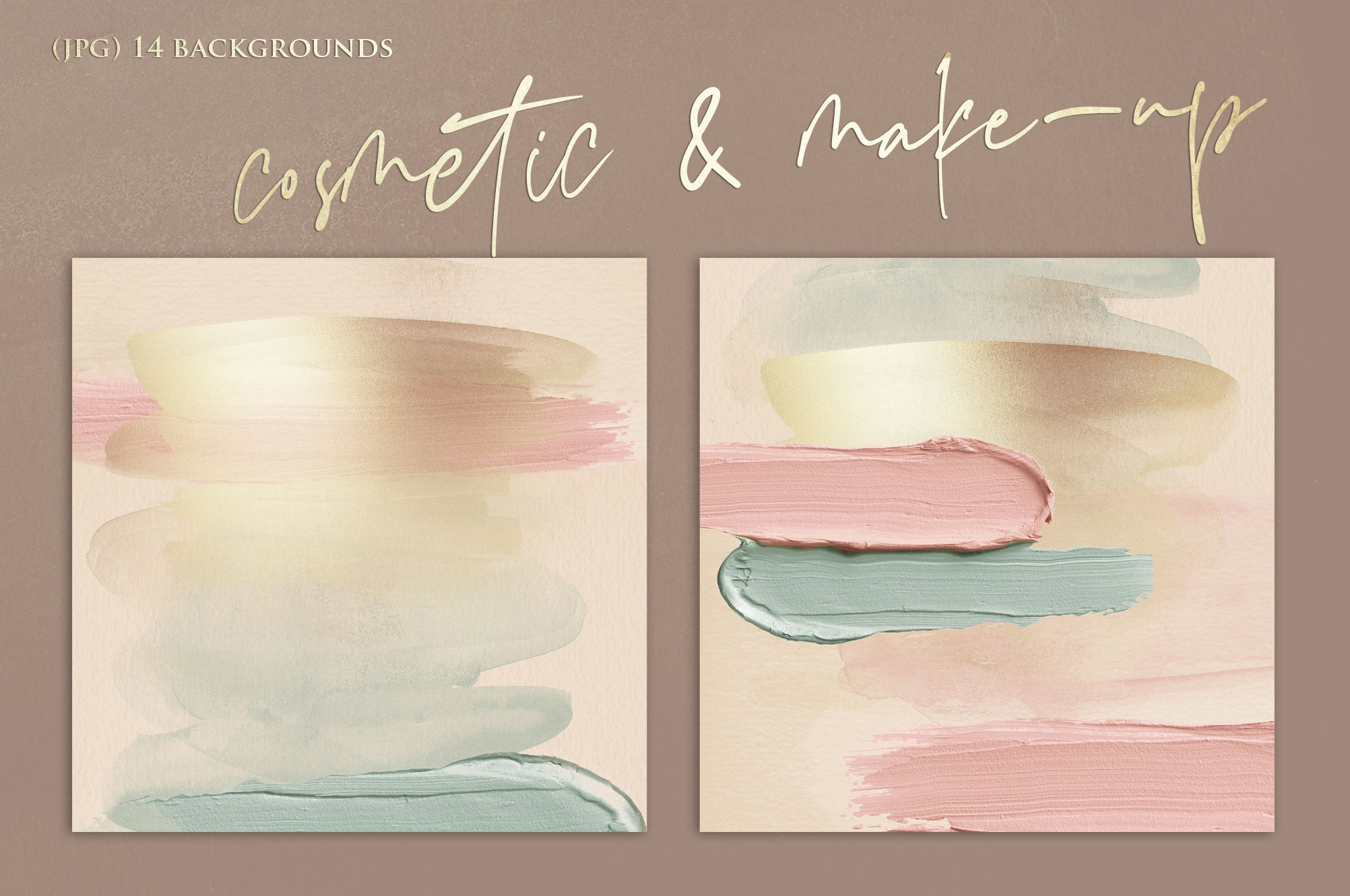 Brush Strokes - Rose Gold Watercolor Backgrounds example image 3