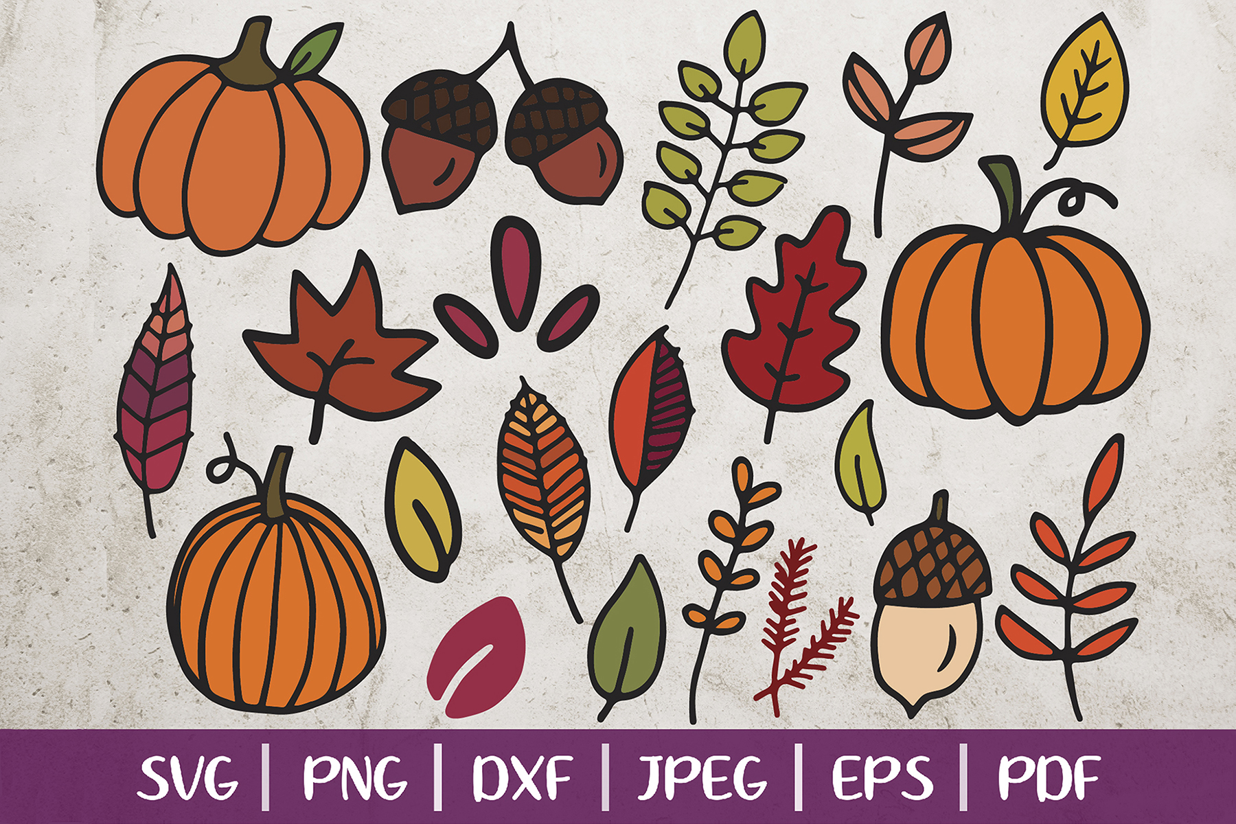 Fall Clip Arts, Fall SVG Cut Files, Leaves and Pumpkins SVG example image 1