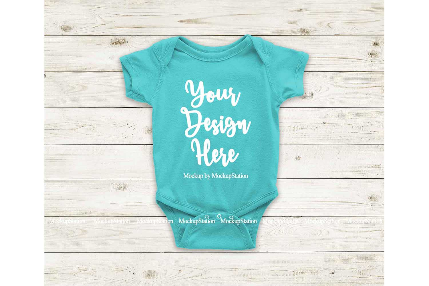Carribean Blue Blank Baby Bodysuit Mockup, Newborn One Piece example image 1