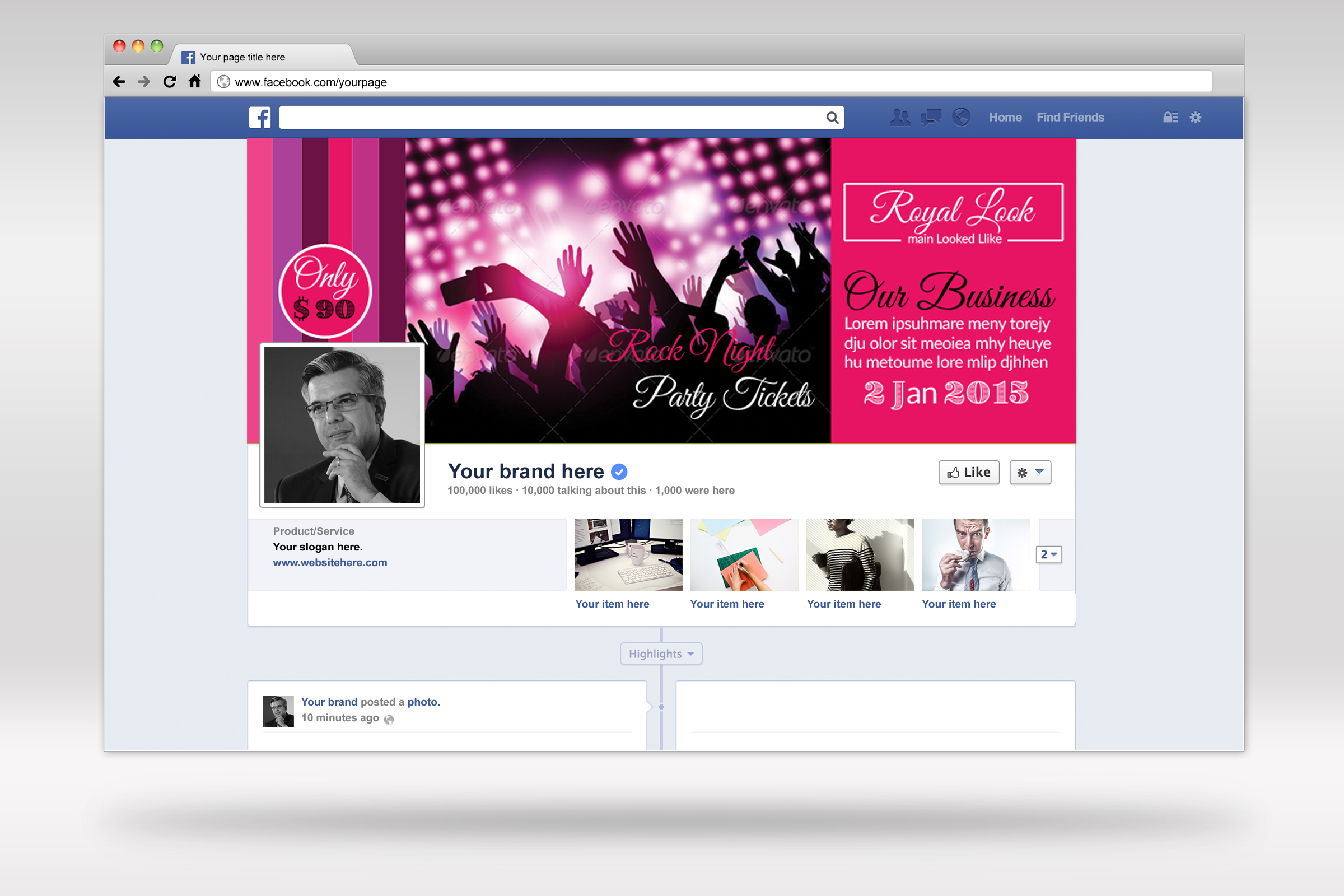 Music Concert Night Facebook Timeline Cover example image 2