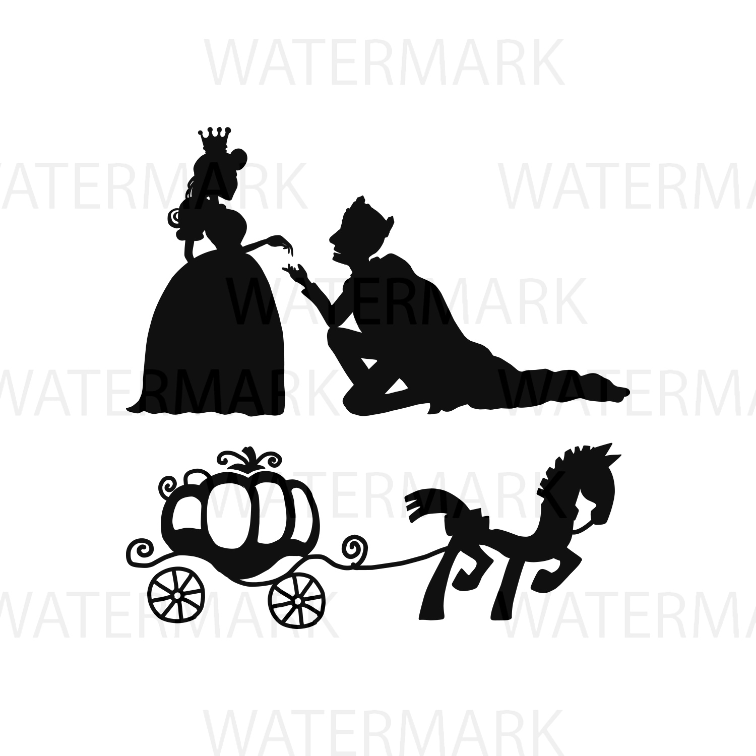 Prince and Princess - horse and carriage - Separated SVG/JPG/PNG - Hand Drawing example image 1