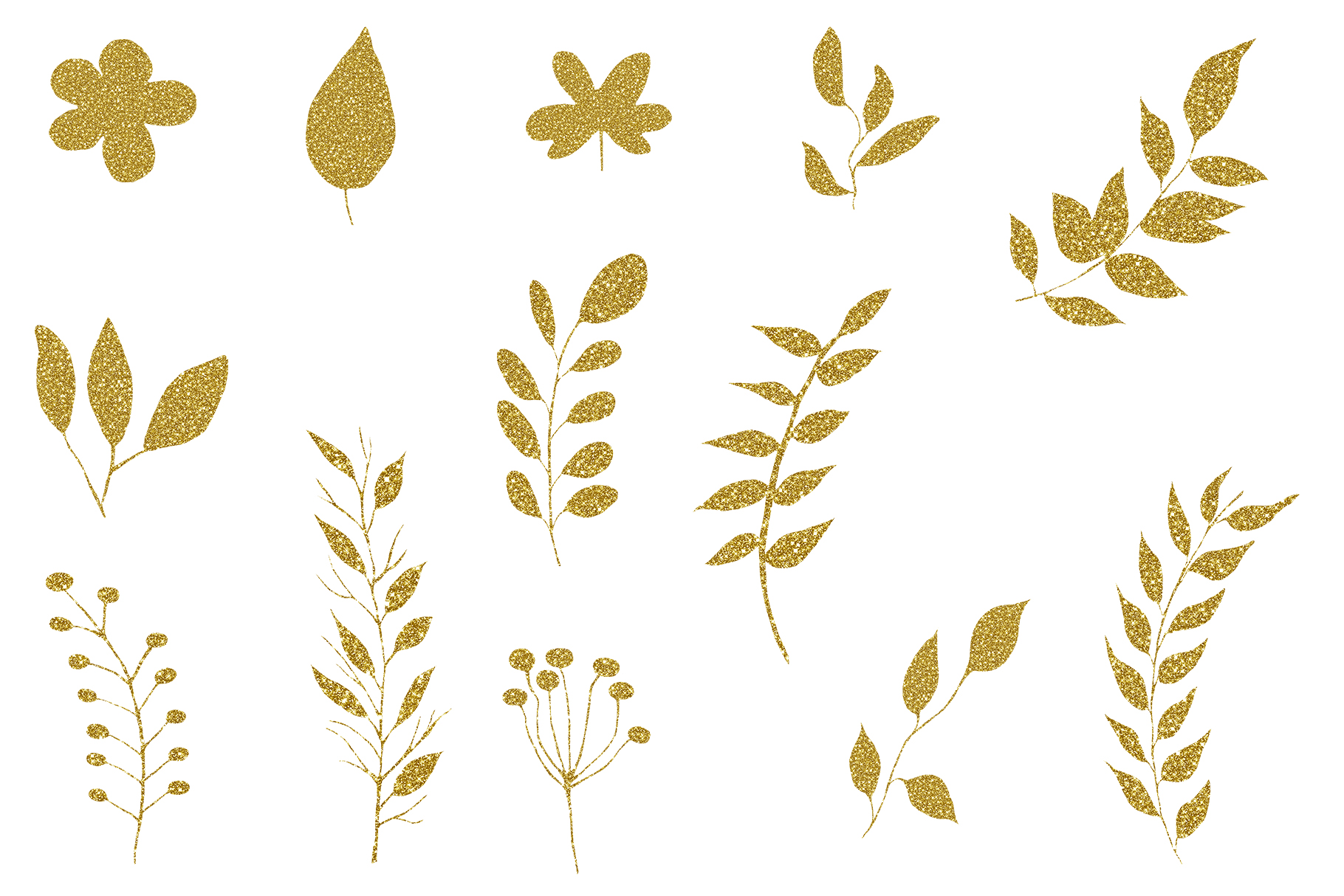 Gold Glitter leaves clipart, Floral Glitter Clipart example image 3