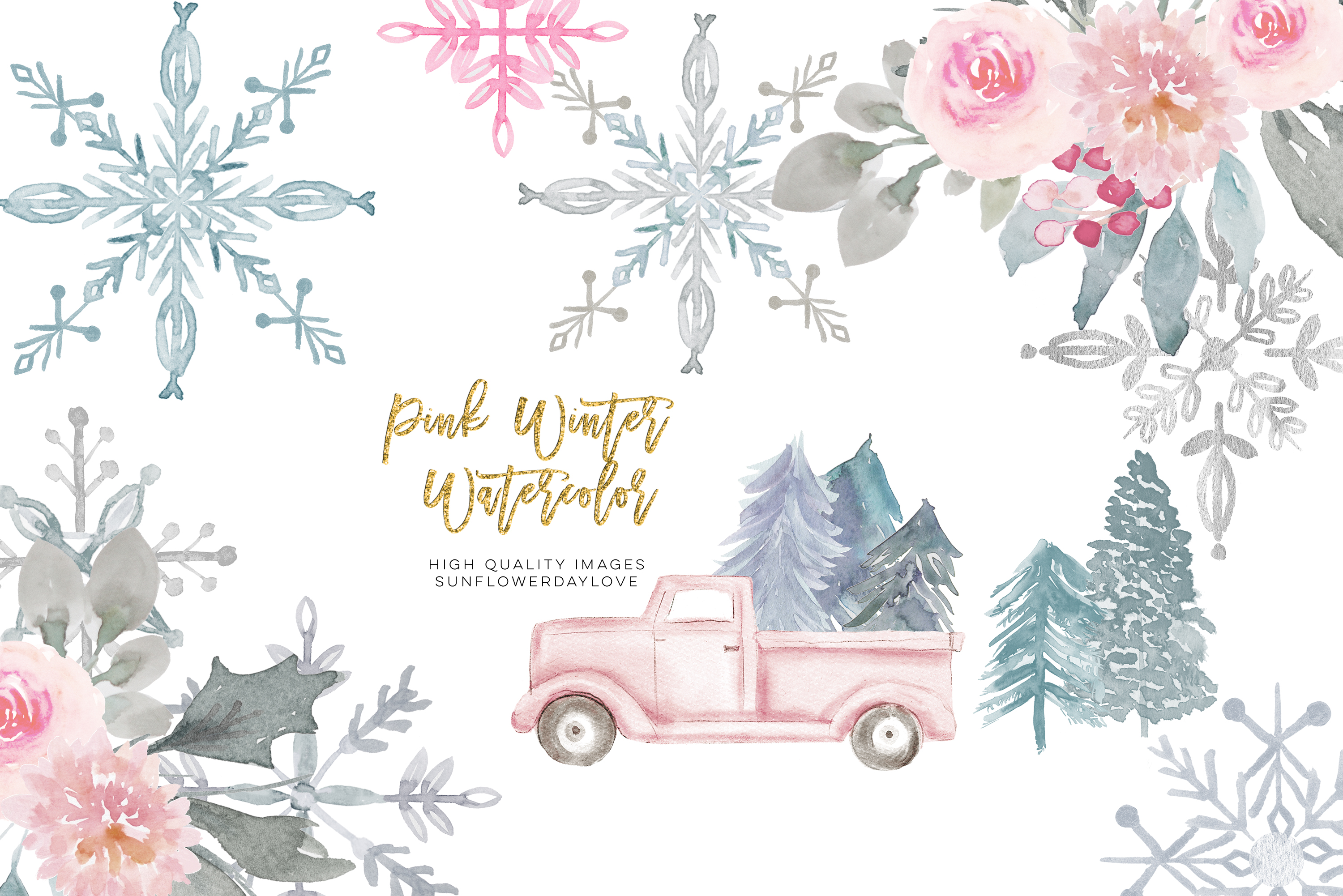 Pink Christmas clipart, floral Pink watercolor clipart example image 1