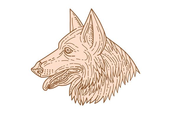 German Shepherd Dog Head Mono Line example image 1