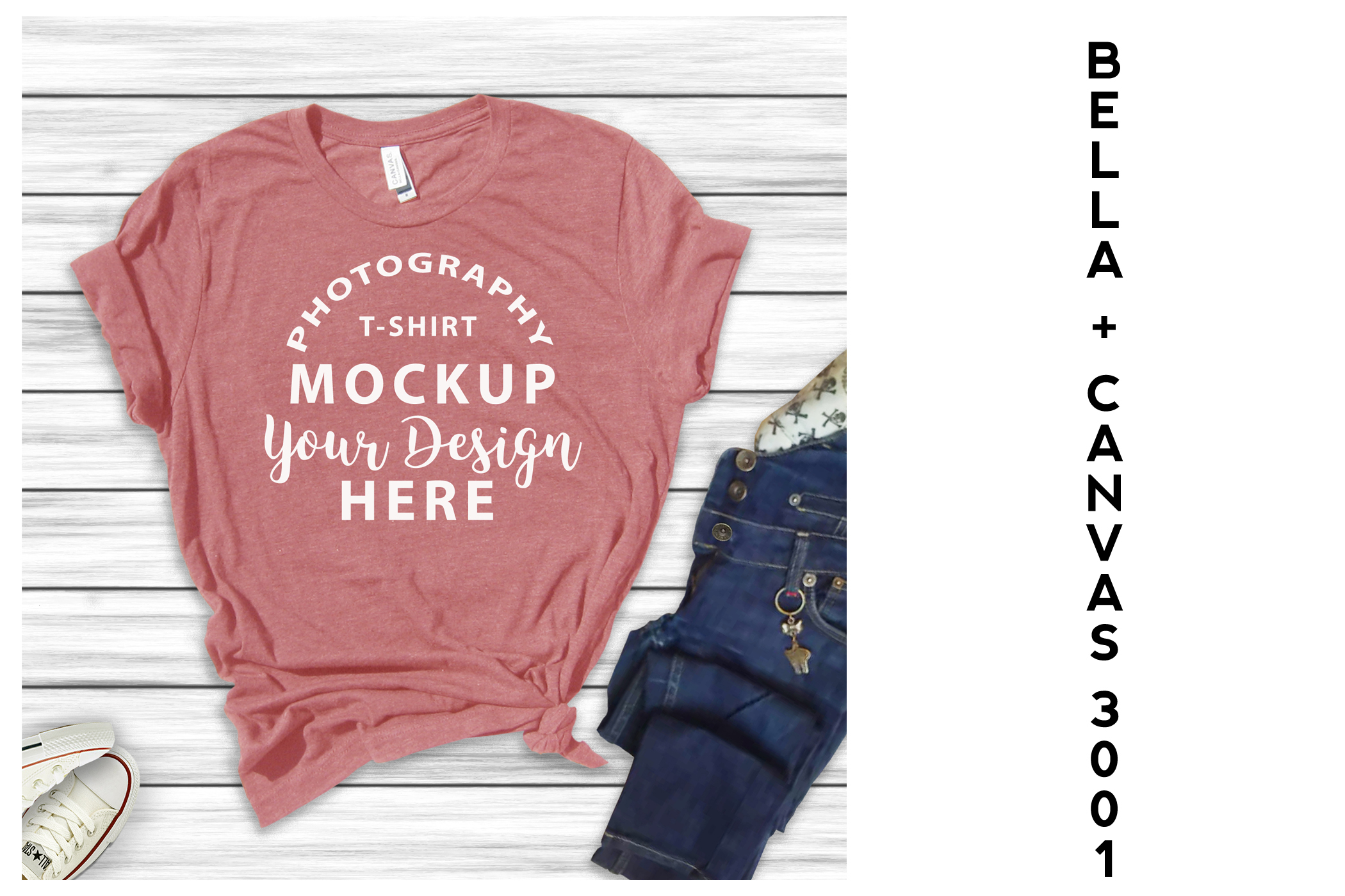 Bella Canvas 3001 All Heather T-shirts 16 mock-ups Bundle example image 9