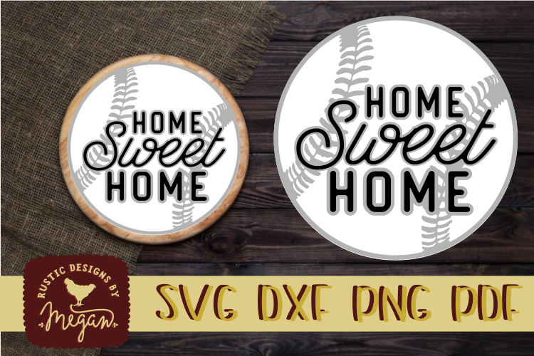 Baseball Home Sweet Home Round SVG DXF Comm example image 1