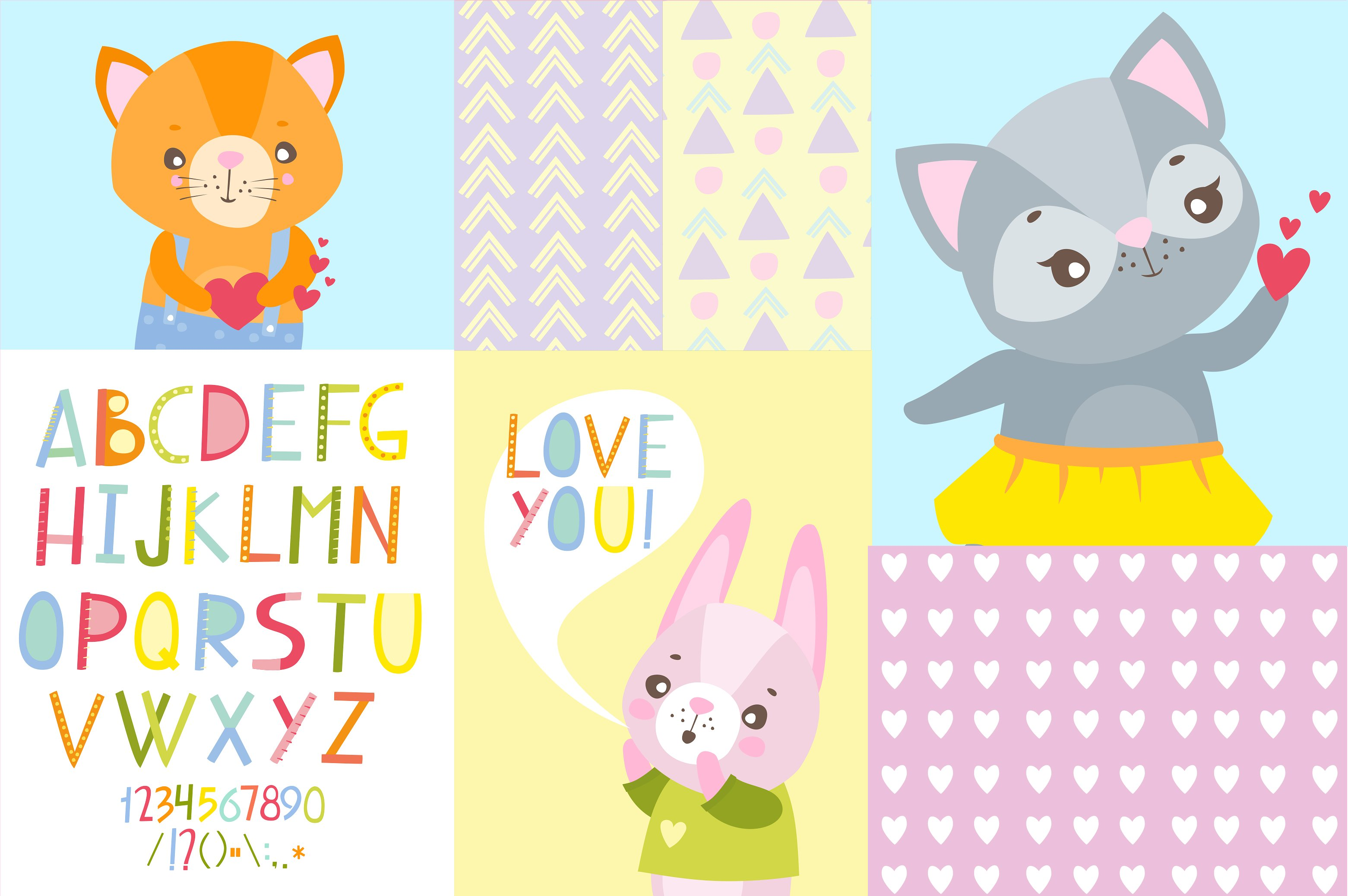 Vector alphabet and cute animals example image 2