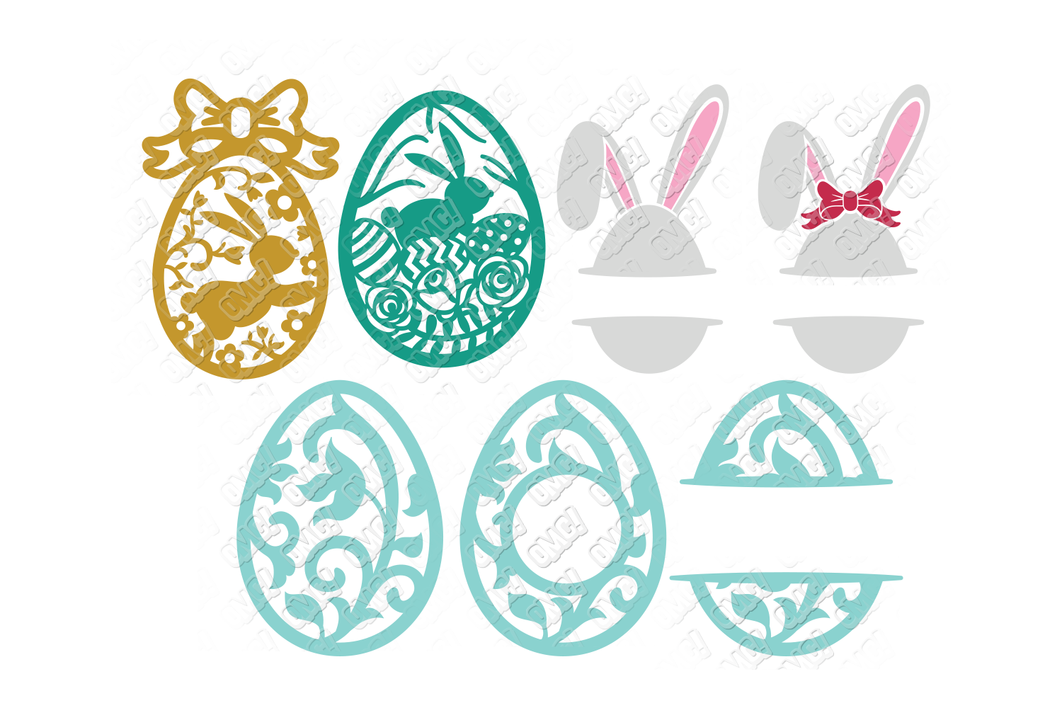 Easter Egg SVG Monogram Quotes in SVG, DXF, PNG, EPS, JPEG example image 3