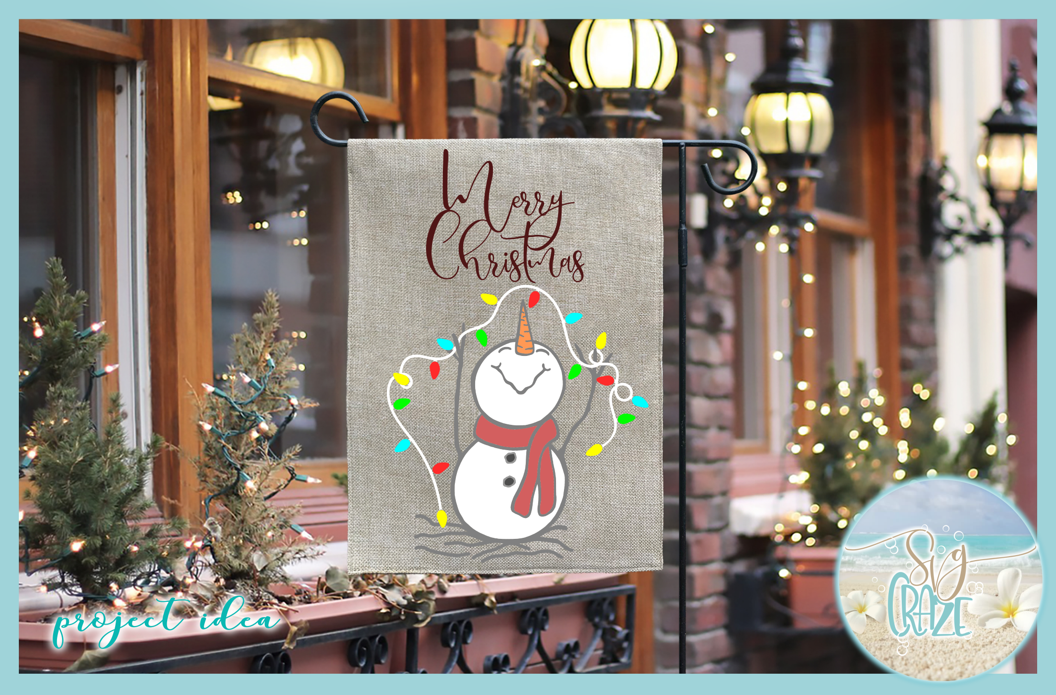 Happy Snowman with Lights Merry Christmas SVG example image 2