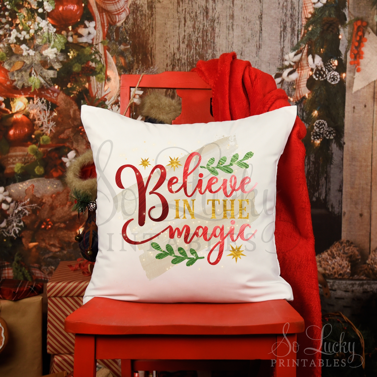 Believe in the magic Christmas watercolor sublimation design example image 2