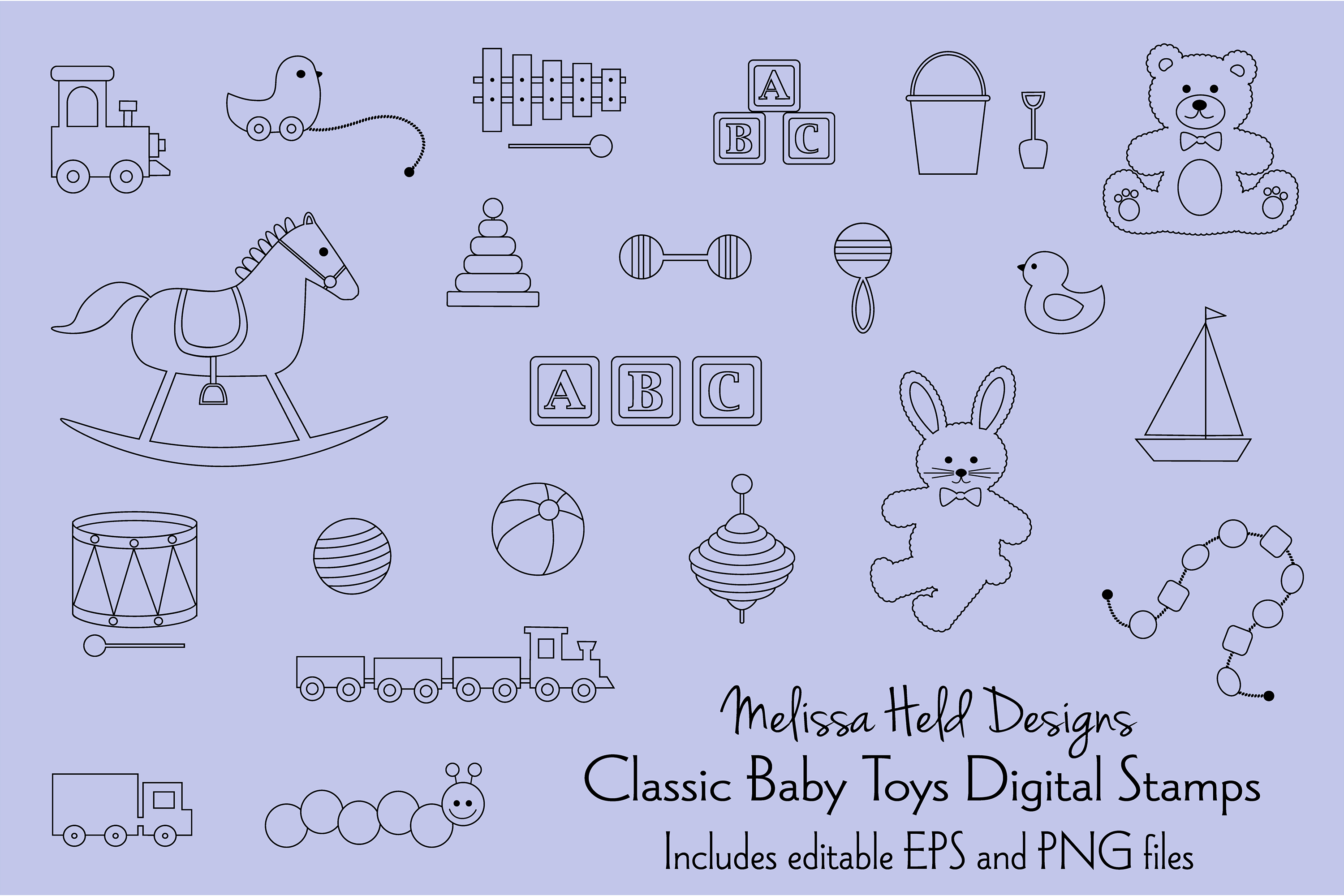Classic Toys Digital Stamps Clipart example image 1