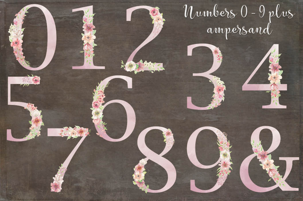 Pink watercolor alphabet, numbers and sprays + FREEBIE! example image 6