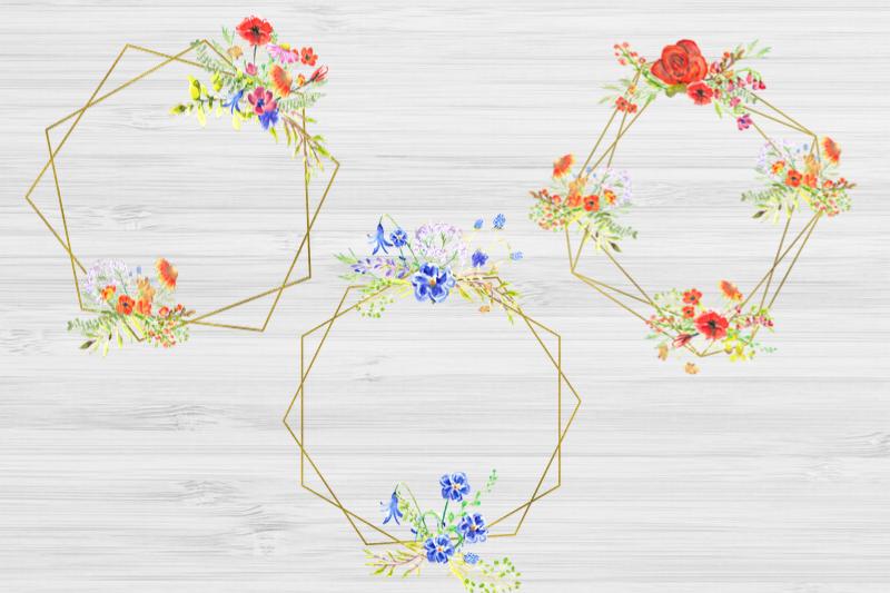 20 Geometric Framesw With Field Flowers, Poppy Wedding Frame example image 2