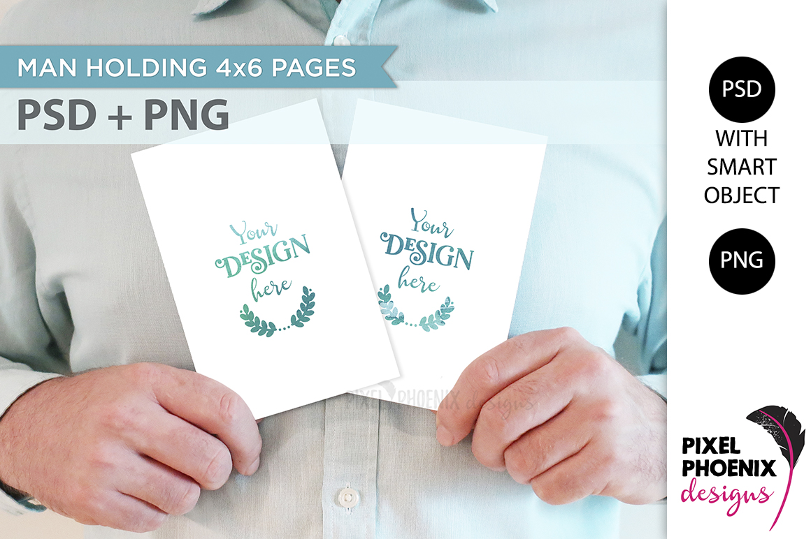 Mockup with hands holding 4x6 cards example image 2