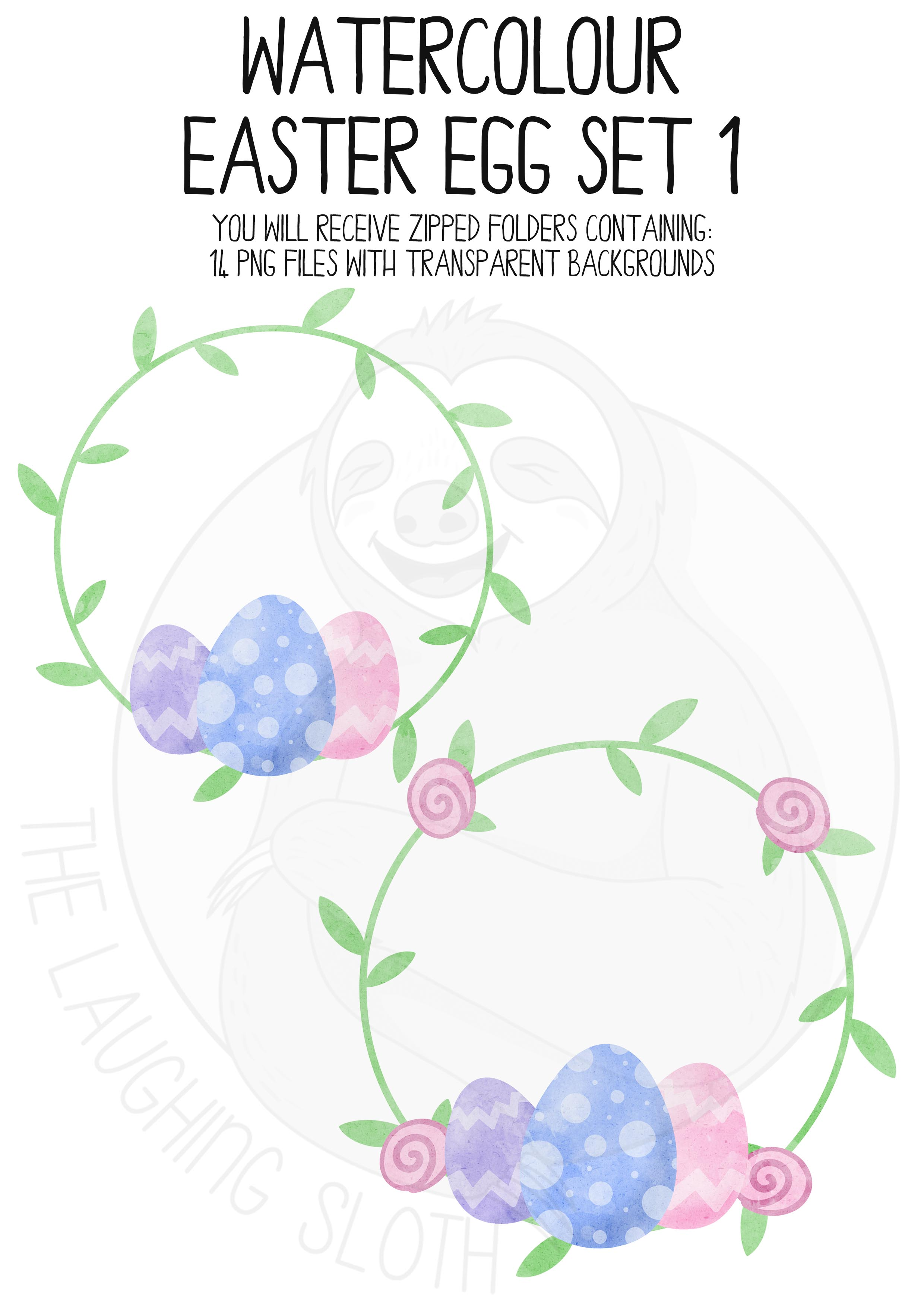 Watercolor Easter Clip Art Set example image 3