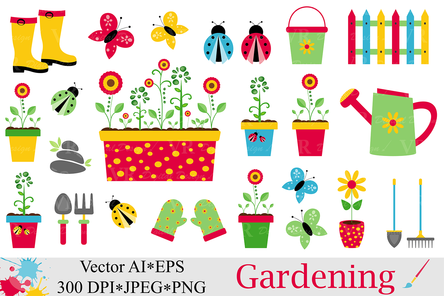 spring garden clipart gardening vector graphics ladybugs and butterflies illustartions example image 1 - Garden Clipart